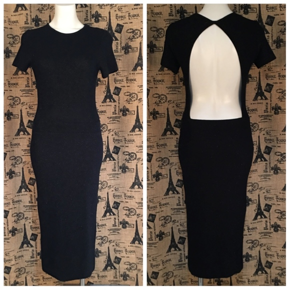 73f62084 Zara Dresses   Knit Black Open Back Maxi Dress Size M   Poshmark